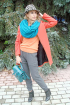 orange Zara coat - heather gray Zara hat - turquoise blue H&M scarf