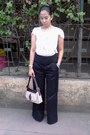 Jones-ny-bag-wide-leg-pants-sheer-ribbon-top-wedges
