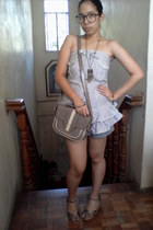 denim Arizona shorts - black glasses - tube top - vintage bracelet - vintage owl