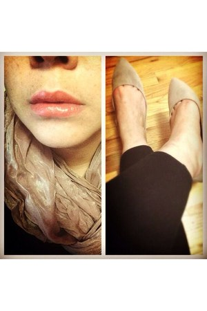 beige pointed flats Forever 21 shoes - peach H&M scarf