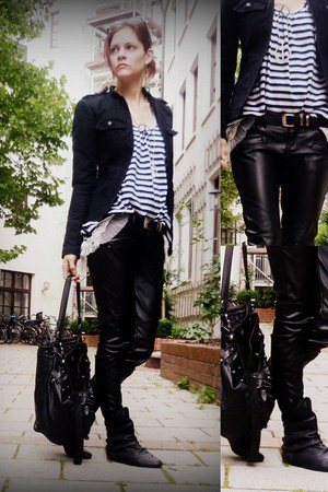 leatherlook New Yorker pants - Zara boots - military Freeman T Porter jacket