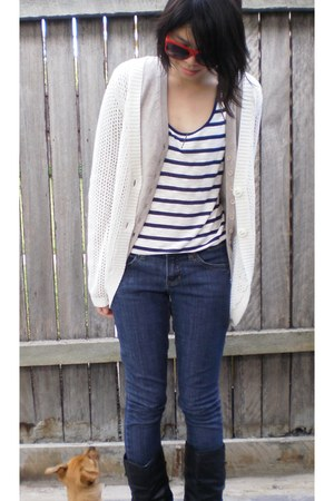 black leather Novo boots - navy denim Myer jeans - blue striped Forever 21 shirt