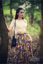 violet skirt - black bag - ivory top