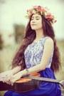 Blue-dress-violet-dress