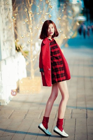 red coat - white shoes - red socks