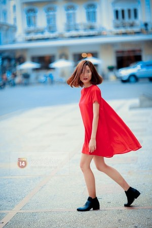 black boots - red dress
