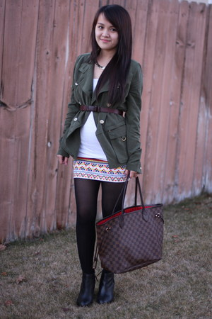 peach Forever21 skirt - olive green Anthropologie jacket