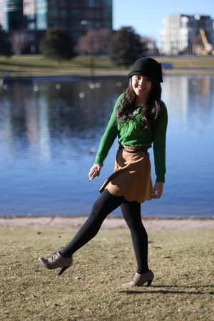 black Urban Outfittersba hat - lime green Anthropologie sweater