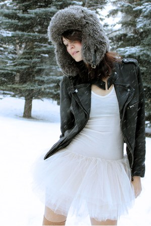leather Zara jacket - tulle BCBG dress - faux fur H&M hat