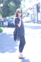 black H&M shirt - black H&M pants - black H&M sandals