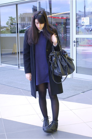 H&amp;M boots - sweater dress H&amp;M dress - Pull and Bear shirt - Bag bag