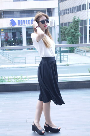 white mesh H&M blouse - black midi H&M skirt - black Mango wedges