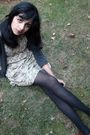 Brown-steve-madden-shoes-black-thrifted-tights-gray-forever-21-cardigan-be