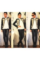 black Zara boots - black Zara jacket - white Amisu shirt - black Zara pants