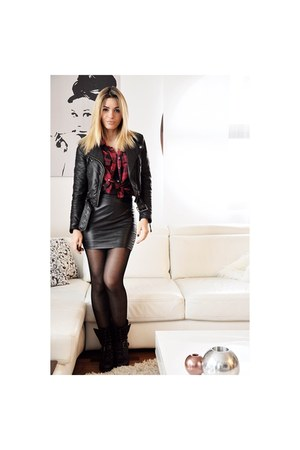 black Forever 21 boots - black H&M jacket - ruby red reserved shirt