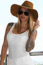 White-h-m-dress-burnt-orange-zara-hat-peach-ray-ban-sunglasses
