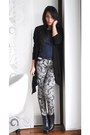 Navy-zara-boots-heather-gray-printed-zara-pants-black-h-m-cardigan