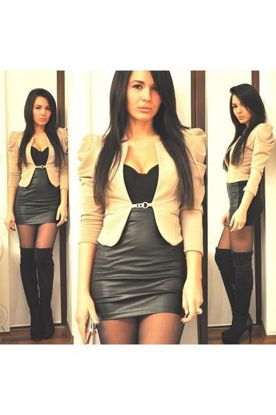 black Bershka boots - camel Bernice blazer - black Bershka skirt