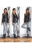 stripes Tally Weijl pants - Zara boots - Bershka vest - Tally Weijl top