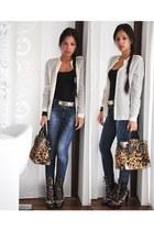 camel leopard print roberto cavalli boots - navy Zara jeans