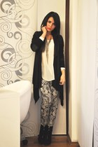 black Zara boots - cream Zara shirt - black H&M cardigan
