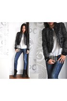 navy Zara jeans - black Buffalo London boots - dark gray Mango blazer