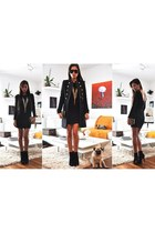 black Buffalo boots - black Zara dress - black Zara coat