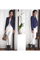navy Zara boots - blue Zara blazer - brown leopard print Kenneth Cole bag