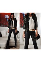 black sequined Mango blazer - black studded Hallhuber bag - black Zara pants