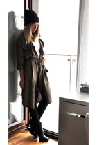 black Zara boots - army green Bershka coat - black H&M hat - ivory Bershka top