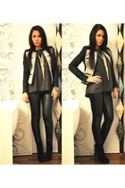 dark gray Zara jacket - black Buffalo boots - silver armani necklace