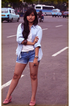 blue No label blouse - blue shorts - pink Mango accessories - pink Marks and Spe