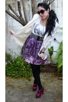 pink aliceolivia for Payless shoes - purple I made it skirt - white vintage blaz