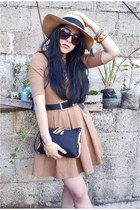 camel Zara dress - black pony hair Esprit purse