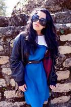 black vintage leather jacket - blue vintage collar dress - black Zara loafers