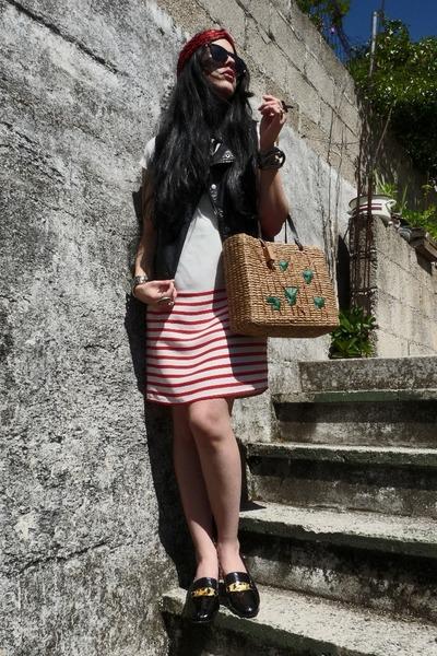 black leather Bershka vest - ivory shift Zara dress