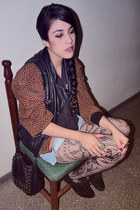 leather Bershka vest - oxford Zara shoes - leopard print vintage jacket
