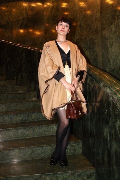 eggshell H&M dress - mustard Zara jacket - black F&F jacket