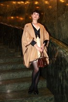 eggshell H&M dress - mustard Zara jacket - black F&F jacket - crimson vintage ba