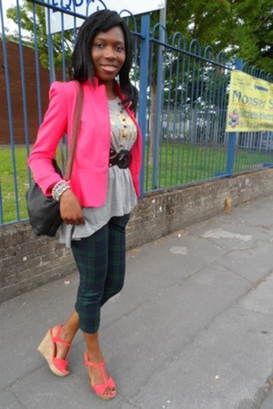 hot pink blazer - black bag - olive green pants - silver top - black belt