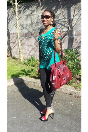 ruby red bag - aquamarine new look dress - black Penneys leggings