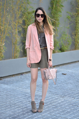 light pink linen Forever 21 jacket - light pink crossbody Steve Madden bag