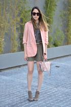 light pink linen Forever 21 jacket - light pink crossbody Steve Madden bag