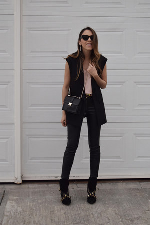 black heeled boots Zara boots - black leather Zara leggings