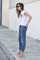 blue boyfriend jeans Mossimo jeans - white cotton shirt