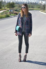 Navy-tartan-pull-bear-coat-dark-gray-knitted-pull-bear-sweater