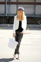 white Zara hat - black romwe hat - white Mango blazer - white Zara bag - heels