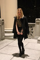 black black H&M shoes - black black Mango coat - yellow gold H&M shirt