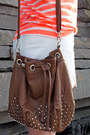 Zara-shorts-studded-bag-urban-outfitters-bag-striped-neon-gap-t-shirt