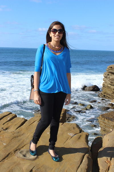 black Zara pants - blue Zara necklace - sky blue Zara top